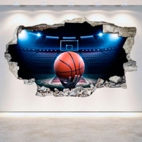Vinyl basketball broken 3D wall