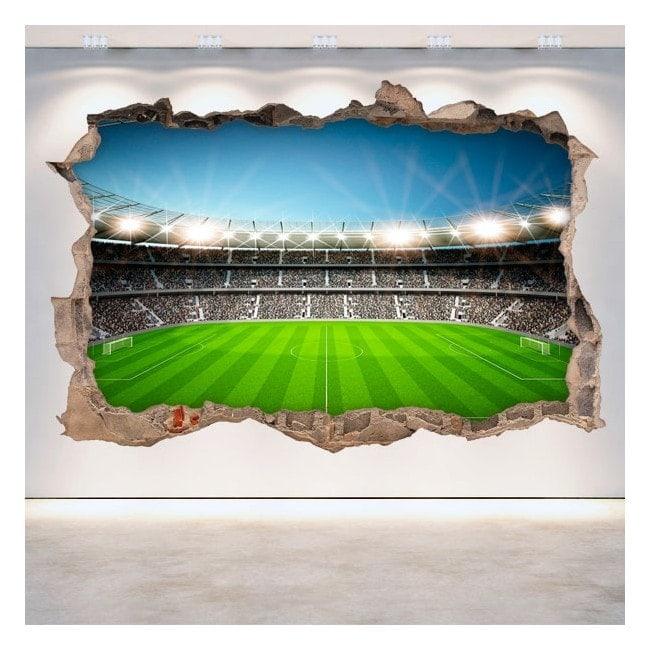 Vinyl football stadium broken 3D wall English 5380