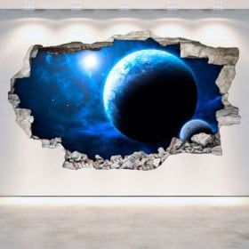 Vinyl wall broken planets space 3D