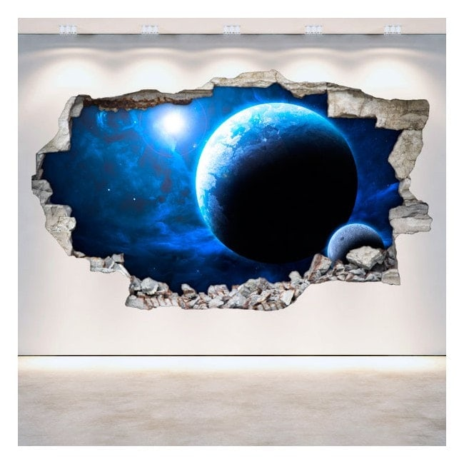 Vinyl wall rotating planets space 3D