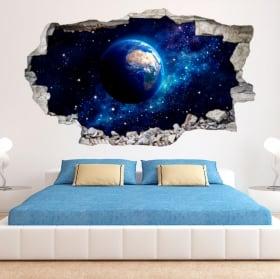Vinyl 3D planet Earth wall broken