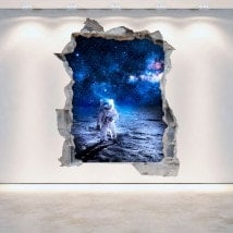 Vinyl 3D wall-broken astronaut on the Moon
