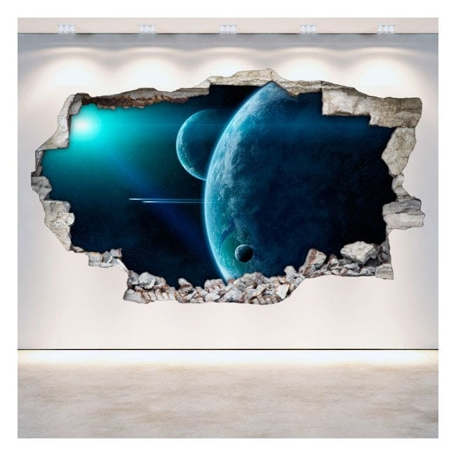 Vinyl wall rotating planets in 3D space