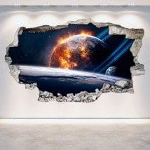 3D planets in space vinyl wall-broken