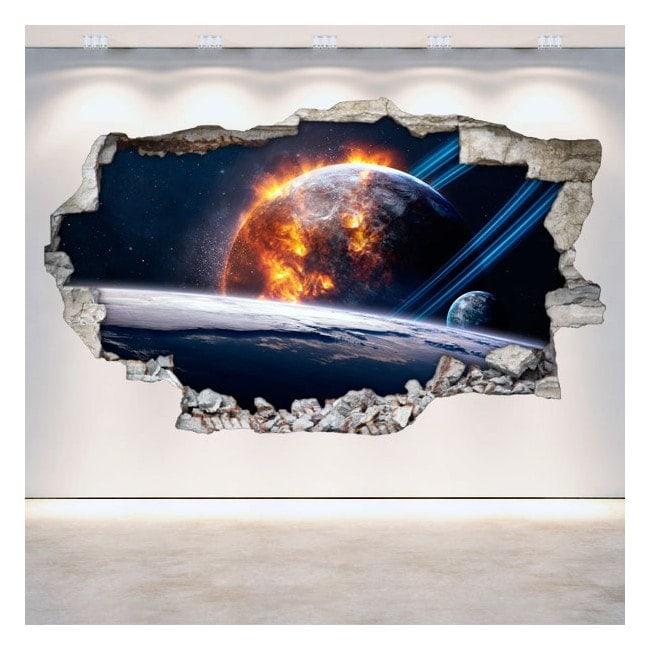 3D planets in space vinyl wall-broken