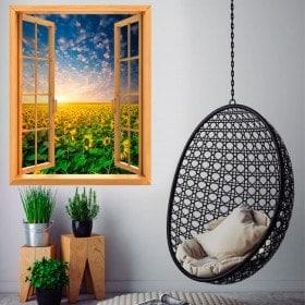 Windows 3D sunflowers