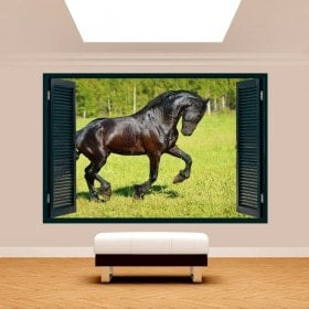 Windows 3D wall horse in the field