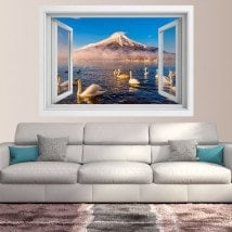 Windows 3D swans Lake Kawaguchi Mt. Fuji