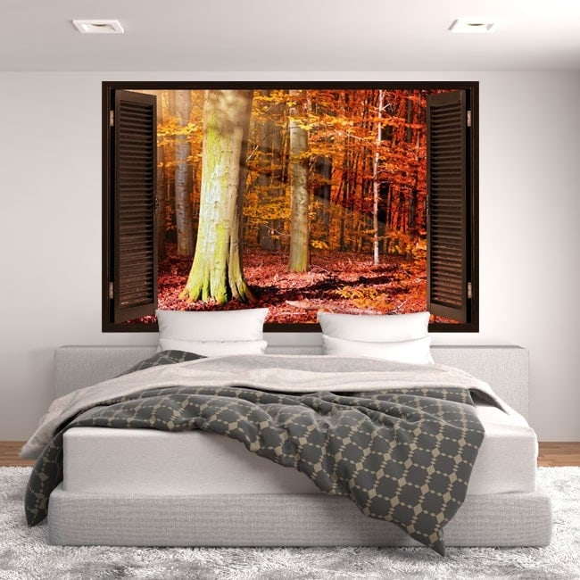3D tree window autumn English 5431
