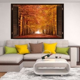 3dwindow road and trees autumn
