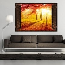 3D tree window red leaves autumn