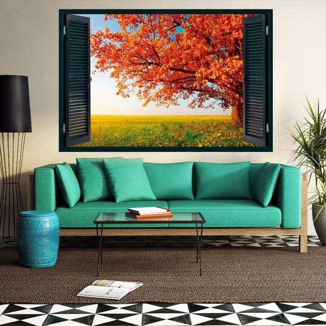 3D tree window autumn English 5434