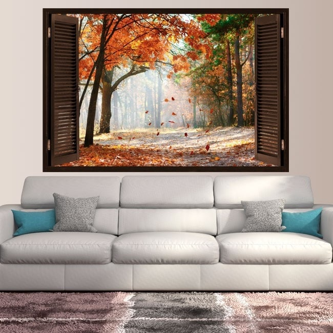 3D trees road autumn window