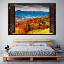 Windows 3D trees mountains fall