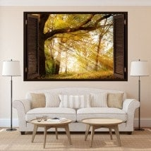 Window 3D trees nature