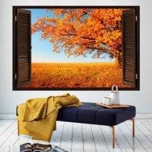 3D tree window autumn English 5440