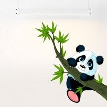 Children's vinyl bear Panda and branch tree