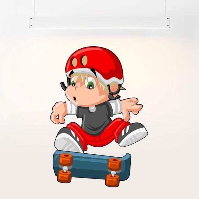 Children's vinyl child and skateboard