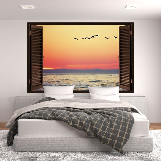 Windows in vinyl 3D sunset at sea