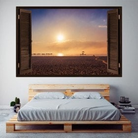 Windows in vinyl 3D sunset on the beach