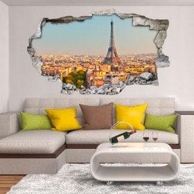 Vinyl hole wall Paris Eiffel Tower