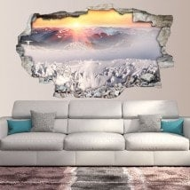 3D vinyl sunset snow capped mountains