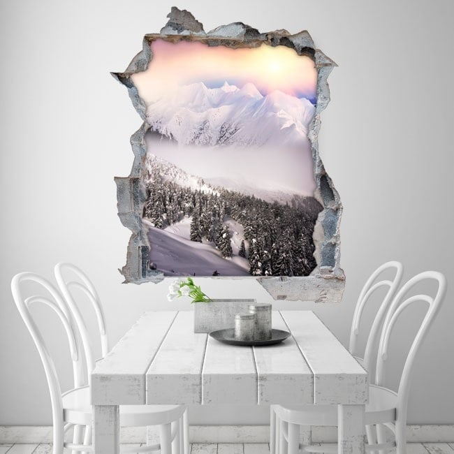 Vinyl 3D mountains snow sunset