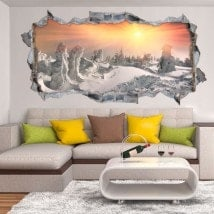 Vinyl 3D sunset in the snowy mountains