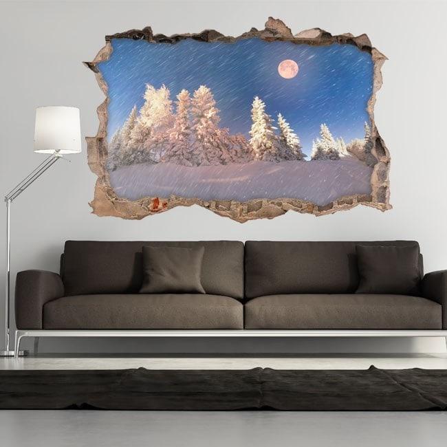 Vinyl 3D Moon winter snowy mountains