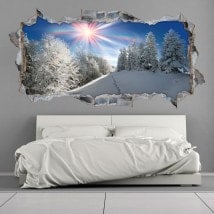 Vinyl 3D snowy mountains sunbeams