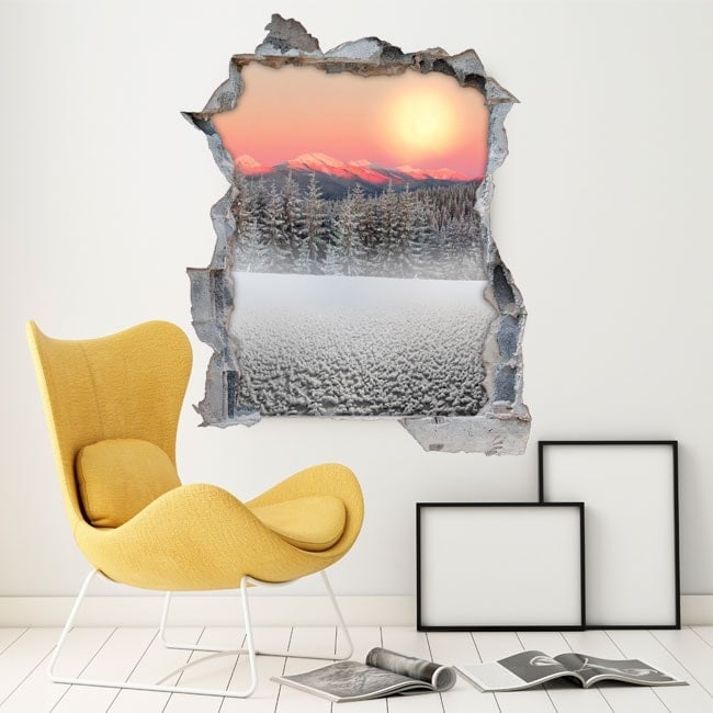 Vinyl 3D snowy mountains Sun sunset