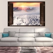Windows vinyl sunset snow capped mountains