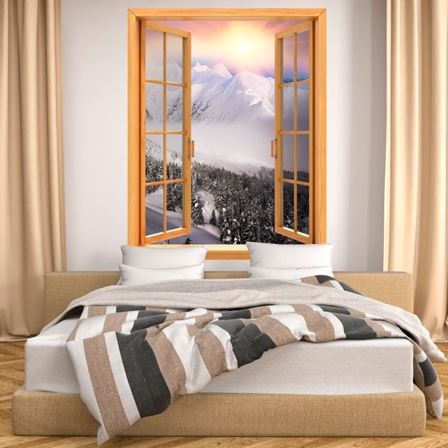 Windows 3D mountains snow sunset