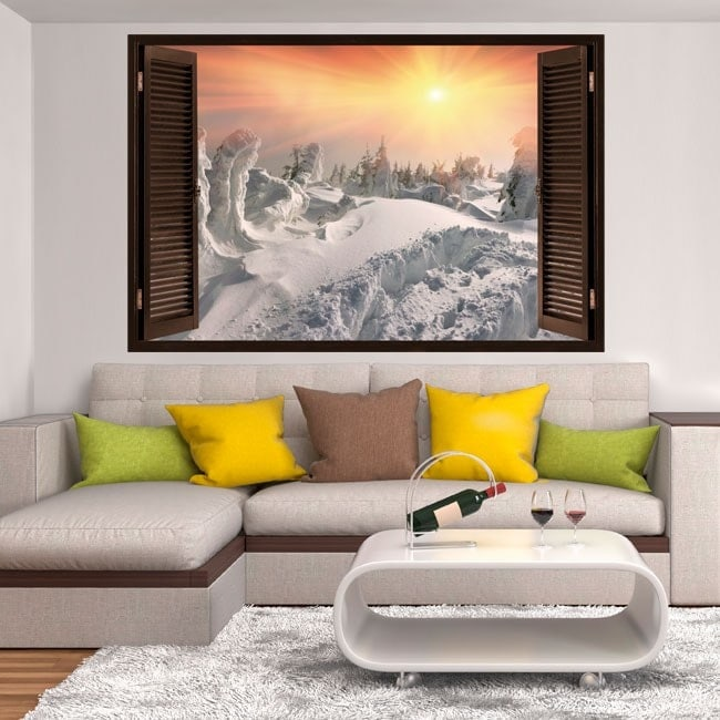 Windows vinyl 3D sunset in the snowy mountains