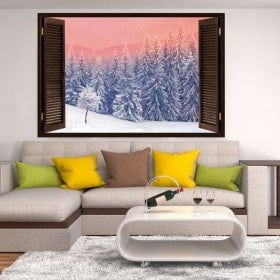 Windows vinyl 3D snow in the mountains