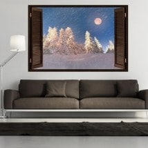 Windows 3D Moon winter snowy mountains