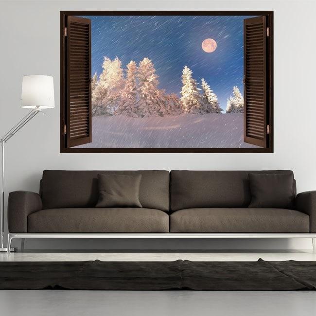 Windows 3D Moon winter snowy mountains