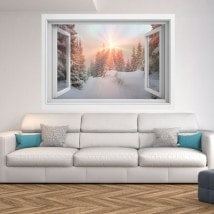 Windows 3D sunbeams snowy mountains