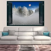 Vinyl Windows Moon in the snowy mountains