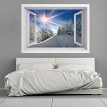 Windows vinyl 3D snowy mountains sunbeams