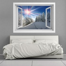 Windows vinyl 3D snowy mountains sunbeams