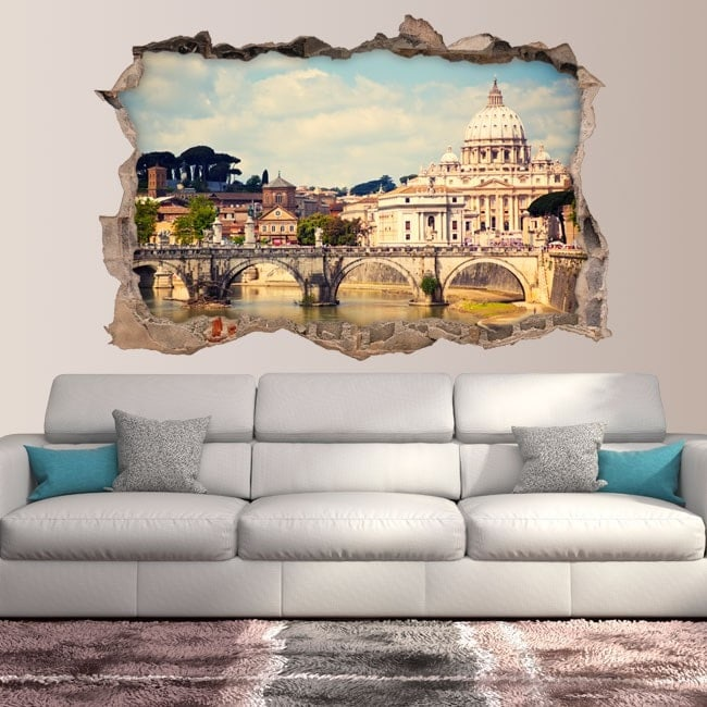 Vinyl 3D bridge Sant'Angelo and Basilica San Pedro