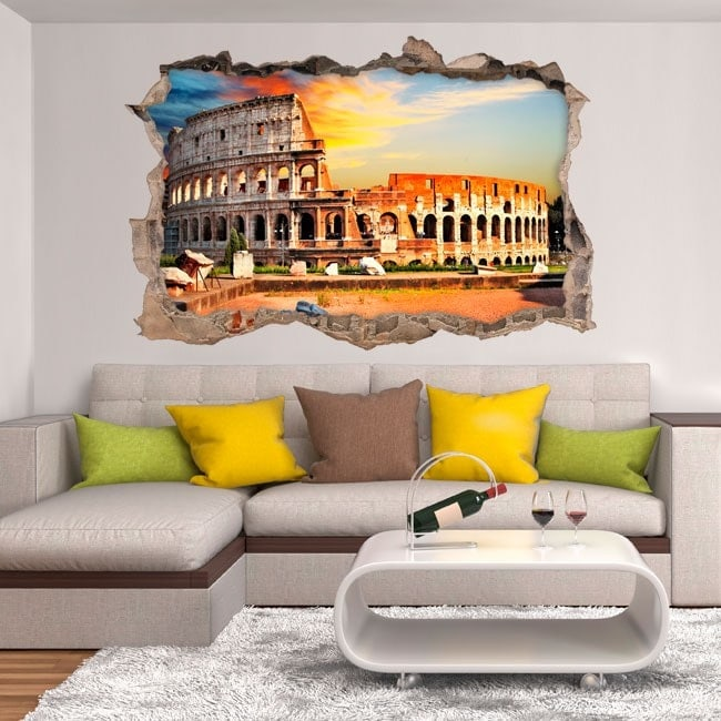 Vinyl wall-broken Colosseum Rome 3D