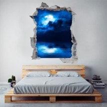 Vinyl 3D full moon over the sea