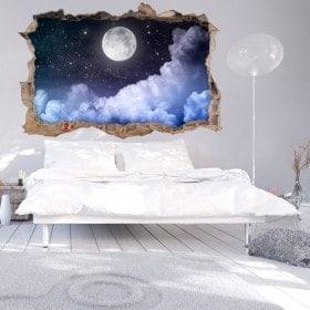 Vinyl wall-broken Moon 3D