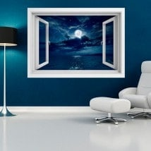 Vinyl windows 3D moon over the sea