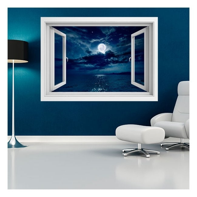Vinyl windows 3D moon over the sea