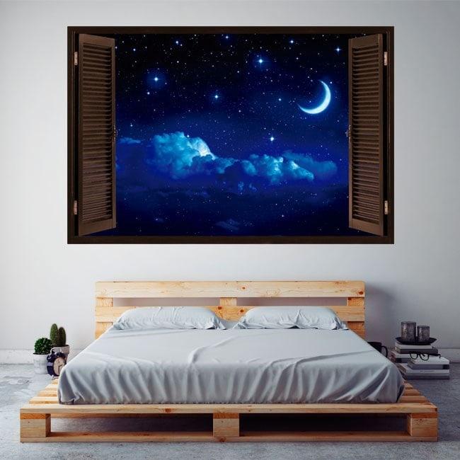 Vinyl windows 3D Moon and stars