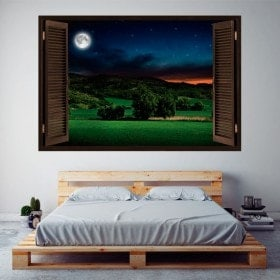 Windows vinyl 3D full moon in the field
