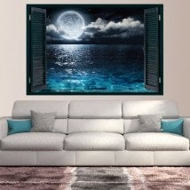 Windows in vinyl 3D Moon and sea